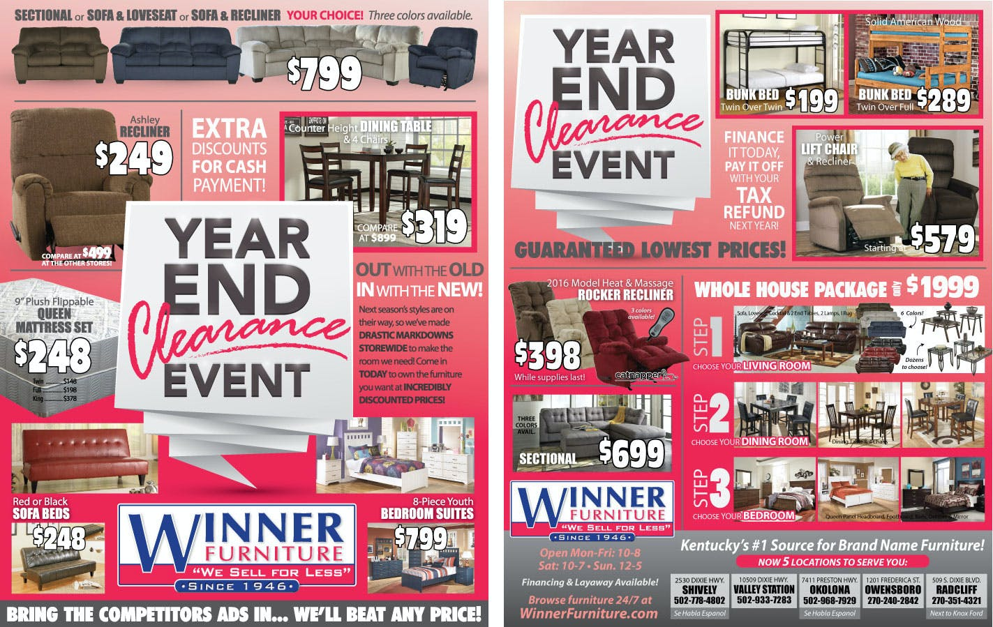 Winner Furniture Louisville Ky Ashley Same Day Delivery Flyer