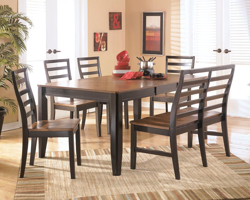 clearance lastick furniture floor coverings pottstown pa 19464 two tone 6 piece dinette includes a rectangle table w leaf and 4 side chairs bench now 699