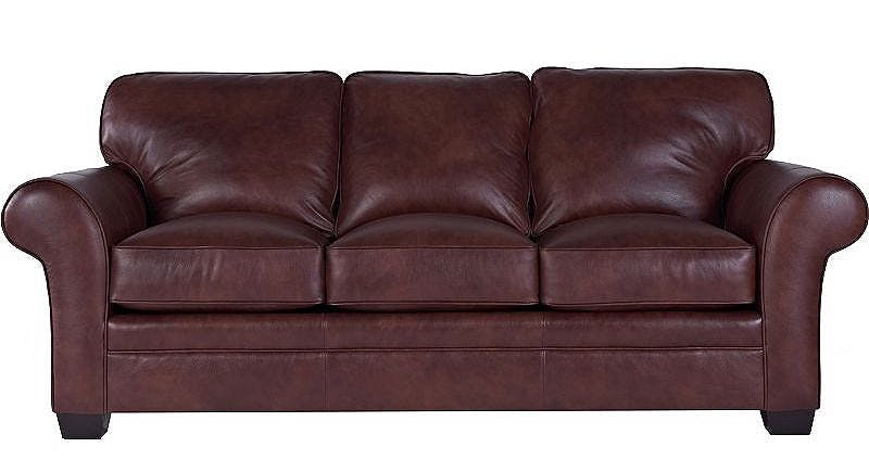 Broyhill Leather Sofa with Coil Spring Cushions - Clearance Lastick Furniture & Floor Coverings Pottstown, PA, 19464