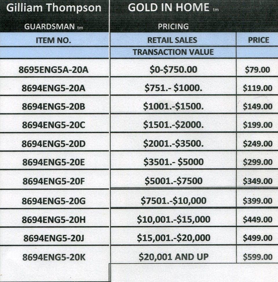 Pricing Structure: Gilliam Thompson Furniture
