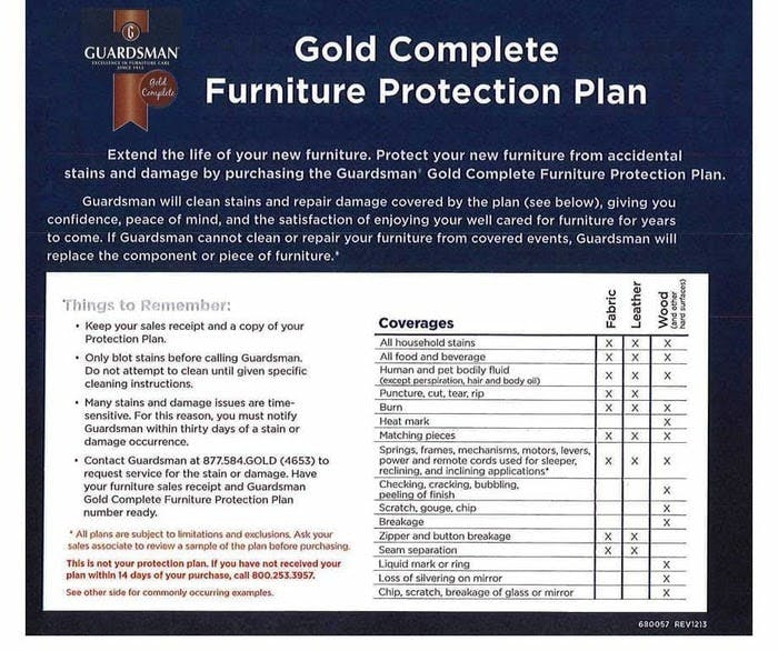 Guardsman Furniture Protection Plan Exotic Home Outlet